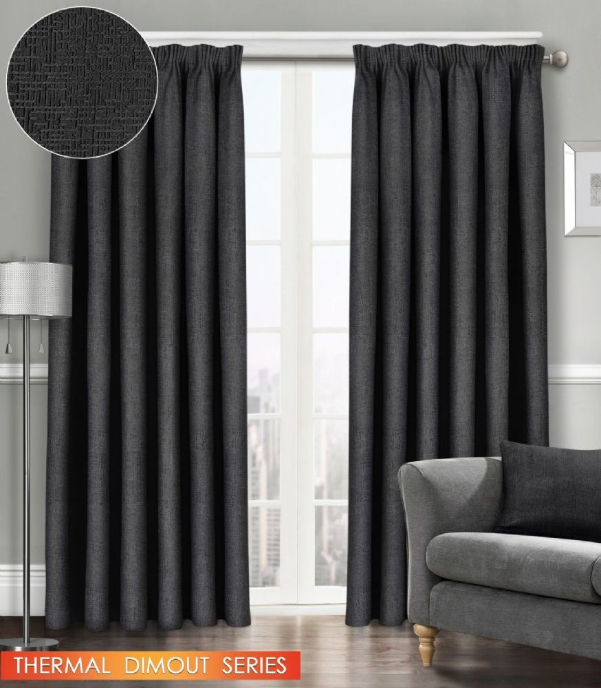 SEMI PLAIN READY MADE THERMAL WOVEN MATERIAL DIMOUT PENCIL PLEAT PAIR CURTAINS BLACK COLOUR